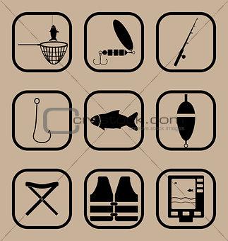 Fishing simple icons set