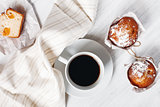 Sweet Fresh Baked Muffins with Cup of Coffee