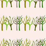 Hand Drawn Trees Seamless Pattern