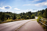 Typical beautiful road in the countryside of Finland