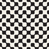 Vector Seamless Black and White Irregular Checker Grid Geometric Pattern