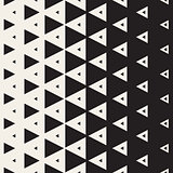 Vector Seamless Black and White Vertical Triangle Halftone Pattern