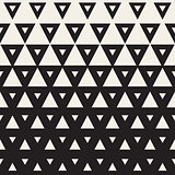 Vector Seamless Black and White Triangle Halftone Geometric Pattern