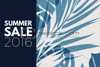 Blue indigo summer tropical hawaiian background with palm tree leaves and exotic flowers