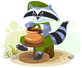 Scout raccoon makes ceramic pot