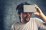 Man watching 3d virtual pornographic content