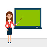 Business Lecture with Pointer and Presentation Board
