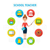 School Teacher with Education Icons Concept