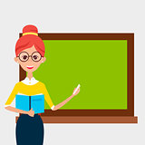 School Teacher with Glasses and Book and Empty Chalkboard