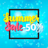 Summer Sale 50 Off Lettering over Blue Abstract Background