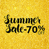 Summer Sale 70 Off Vector Lettering over Gold Glitter