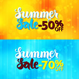 Summer Sale Web Promo Banners over Blurred Background