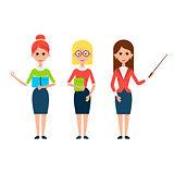 Woman Teacher Flat Characters