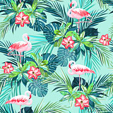 Tropical summer seamless pattern with flamingo birds and jungle flowers