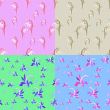 set of flowers snowdrops, lilies of the valley seamless vector i