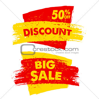 50 percent off discount and big sale banners
