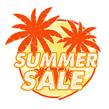 summer sale with palms signs, round drawn label