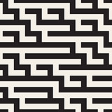 Vector Seamless Black and White Geometric Maze Lines Pattern