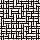 Vector Seamless Black and White Geometric Interlacing Lines Irregular Pattern