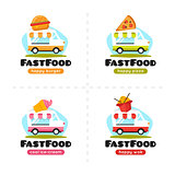Vector fast food truck logo collection. Pizza, burger, ice cream and wok street cafe.