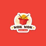 Vector wok in the box logo template. Asian food cafe label.