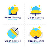 Vector house cleaning logo collection. Cleaning service symbol set.