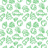 Vector doodle style ecological seamless pattern.