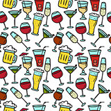 Vector doodle drinks seamless pattern. Beverages bright background.