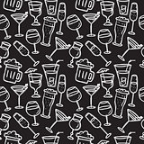 Vector doodle drinks seamless pattern. Beverages chalkboard background.