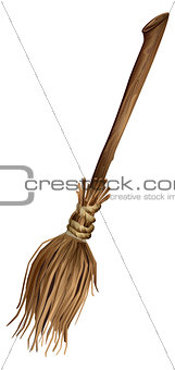 Old broom with long handle
