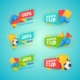 Collection of soccer cup badges.
