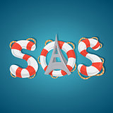 SOS word lifebuoy style.