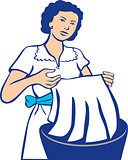 Housewife Washing Laundry Retro
