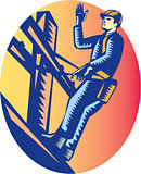 Power Lineman Electric Post Waving Oval Woodcut