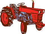 Vintage Farm Tractor Side Woodcut