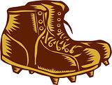 Vintage Football Boots Woodcut