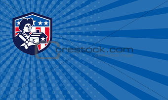 Business card American Patriot Holding House Flag Crest Retro