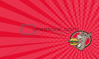 Business card Donkey Mascot Serving Hamburger Oval Retro