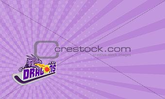 Business card Dragon Fire Puck Hockey Stick Retro