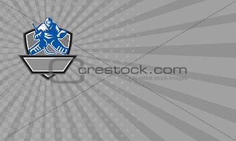 Business card Ice Hockey Goalie Crest Retro