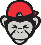 Chimpanzee Head Baseball Cap Retro