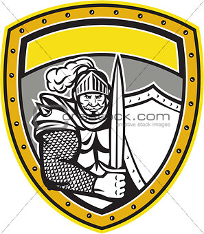 Knight Full Armor Open Visor Sword Shield Crest Retro