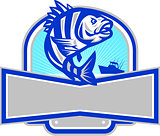 Sheepshead Fish Jumping Fishing Boat Banner Retro
