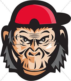 Angry Chimpanzee Head Baseball Cap Retro
