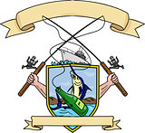 Fishing Rod Reel Blue Marlin Fish Beer Bottle Coat of Arms Drawing