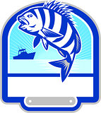 Sheepshead Fish Jumping Fishing Boat Crest Retro