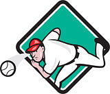 Baseball Pitcher Outfielder Throw Ball Diamond Cartoon