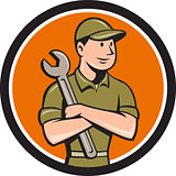 Mechanic Arms Crossed Spanner Circle Cartoon