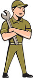 Mechanic Arms Crossed Spanner Cartoon