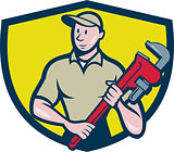 Plumber Holding Monkey Wrench Crest Cartoon